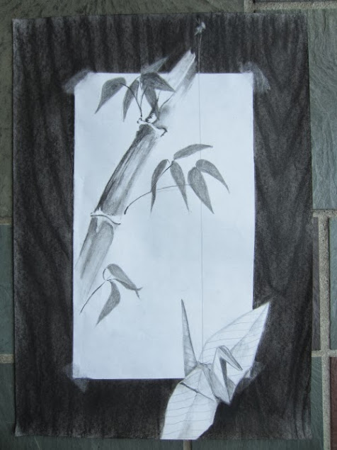 painting depicting a taped-on drawing of bamboo and paper crane