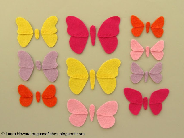 felt butterfly pieces ready to add to the wreath