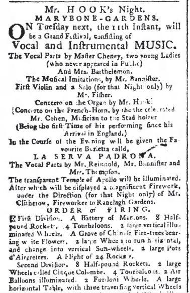 Marylebone Gardens Concert 1770 publicité