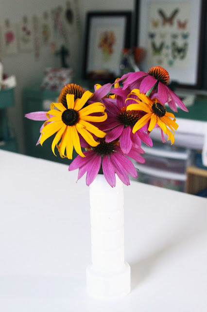 coneflowers, black eyed susan, summer flowers, milk glass, studio, Anne Butera, My Giant Strawberry