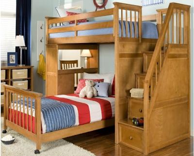 tempat tidur tingkat kayu jati