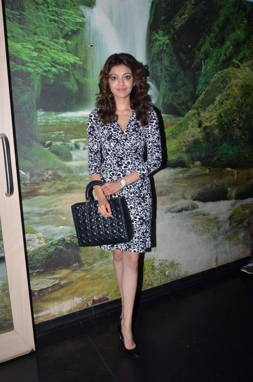 Bollywood Actress Kajal Aggarwal Hot Legs Thigh Show Photos In Short Black Dress