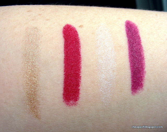 Swatches of Bite Beauty Amuse Bouche Holiday Lipstick Duos in Gold/Sour Cherry and Opal/Jam