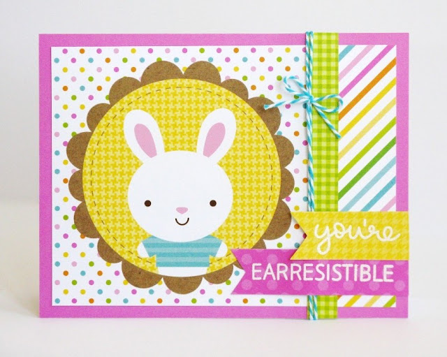 Doodlebug Easter Parade & Lawn Fawn Happy Easter Bunny Quick & Easy Card by Mendi Yoshikawa.