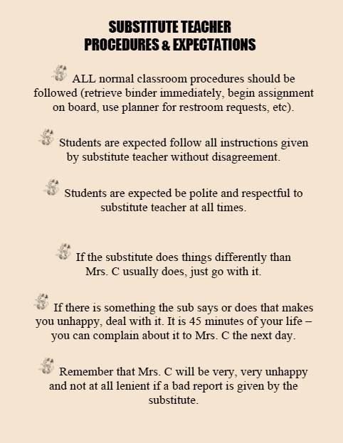 FACS Classroom Ideas Substitute Teachers