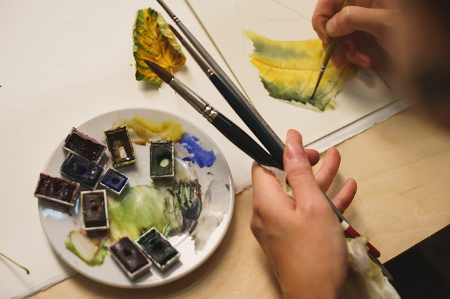Inky Leaves at the International Watercolour Festival, Moscow