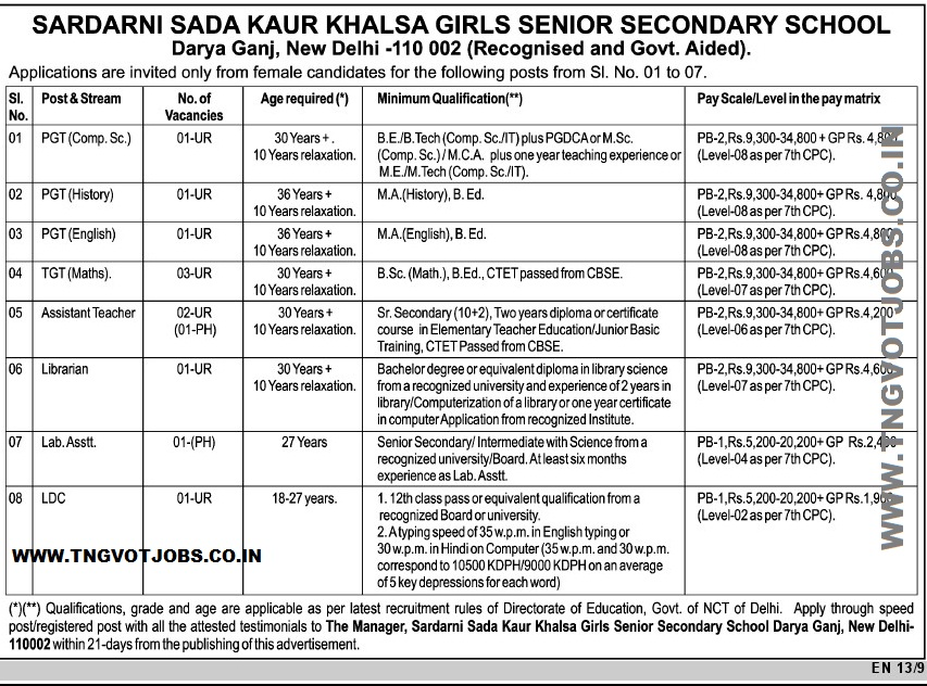 Govt Aided School Recruitment 2018 PGT, TGT, Assistant Teacher, Librarian and Lower Division Clerk Post