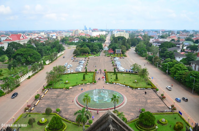 vistas desde el arco de triunfo de vientiane laos