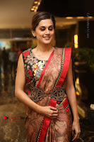 Tapsee Pannu Latest Stills in Red Silk Saree at Anando hma Pre Release Event .COM 0064.JPG