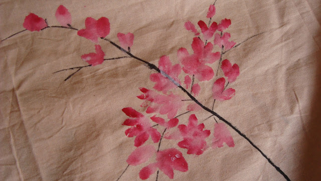 hand painted cherry blossom bed sheet