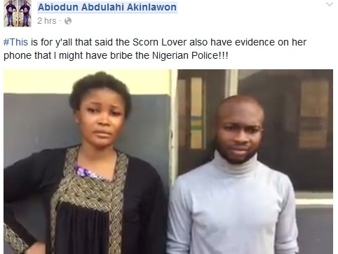 Motunrayo seen here with Abiodun Abdulahi Akinlawon who she accused of being a ritualist and fraudster