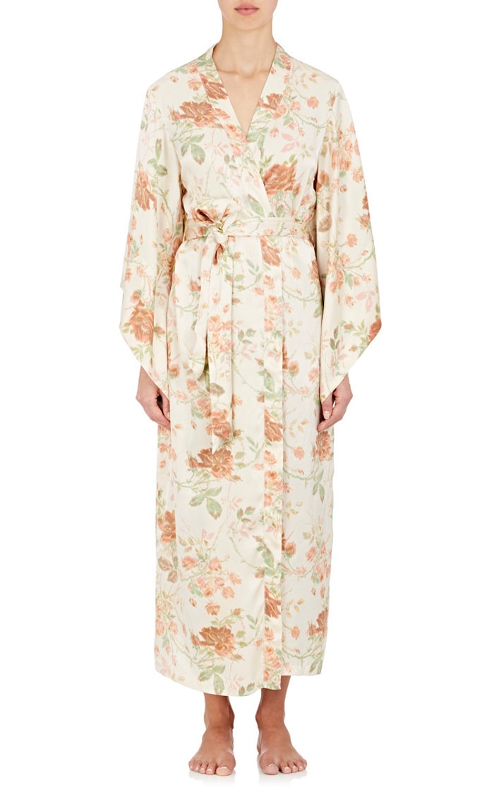 Raven & Sparrow by Stephanie Seymour Tulip Print Silk Charmeuse Kimono Robe