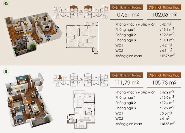 Thiết kế căn hộ Q, R - Five Star Garden.