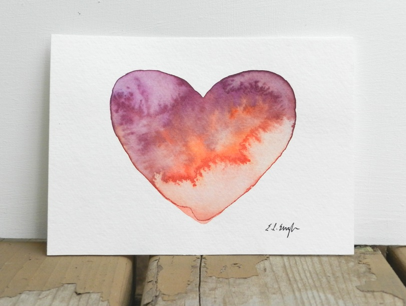 Watercolor Heart Painting by Elise Engh