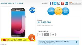 Harga rilis Samsung Galaxy J7 Pro Hitam dengan bonus Power Bank 7800 mAh