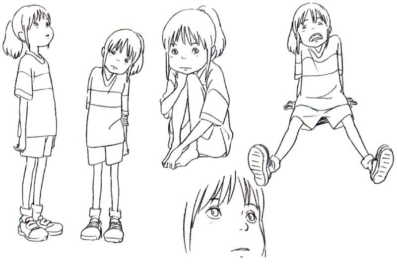Spirited Away concept art 06 Characters expressions Pinterest - reference sheet examples