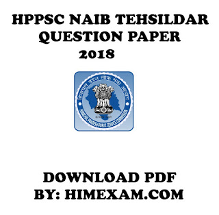 HPPSC Question Paper Naib Tehsildar 2018