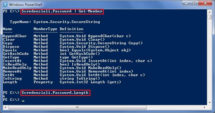 Recuperare informazioni sulla password da un oggetto PSCredential