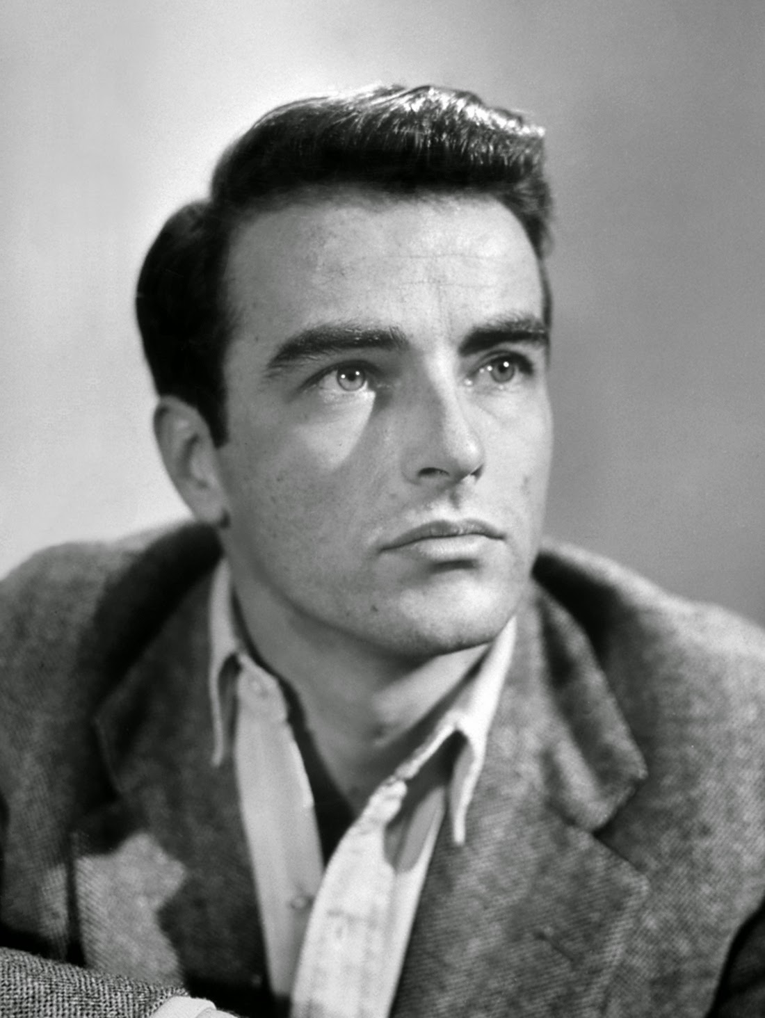 black and white photo of actor Montgomery Clift