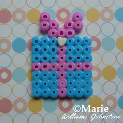 Cute pink and blue perler hama gift design small pattern