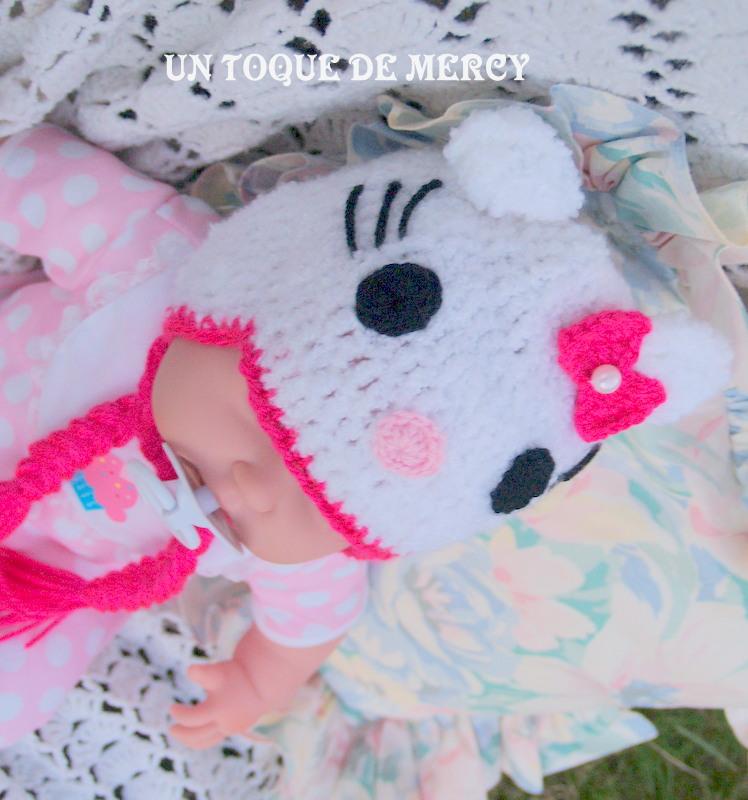 Un toque de mercy gorro de crochet para bebe hello kitty - Hello kitty bebe ...