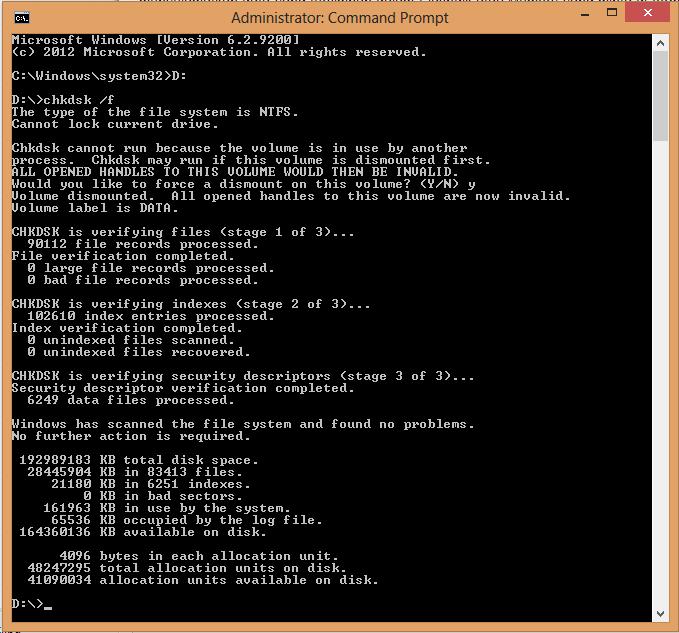 Check Disk menggunakan command prompt