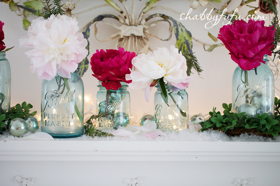 mason jars for christmas with peonies