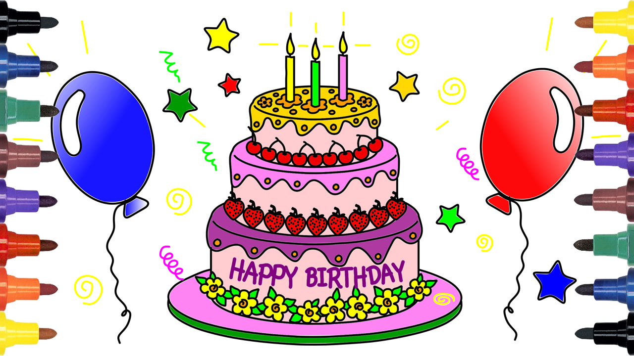 Video For Kids And Drawing Coloring How To Draw Birthday Cake