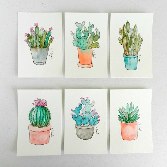 Mini Watercolor Cactus Illustrations by Elise Engh