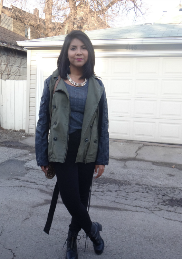 combat boots and military jacket outfit