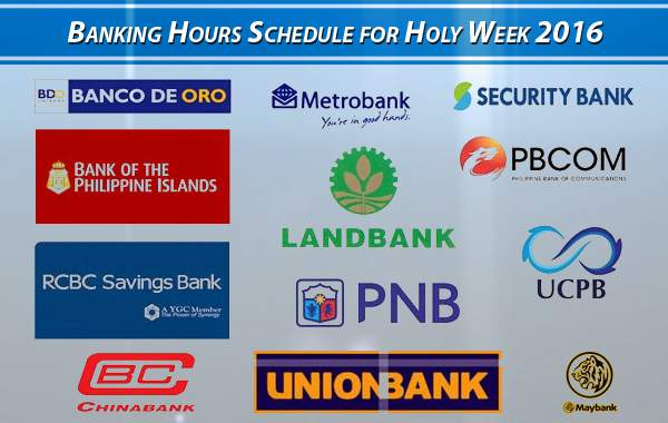Banking Hours Schedule for Holy Week 2016