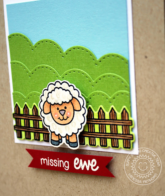 Sunny Studio Stamps: Missing Ewe Sheep Themed Card by Vanessa Menhorn
