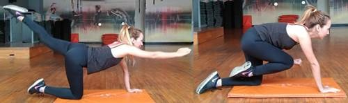 Ejercicio de extensión de cadera y flexión de hombro alternado para cola