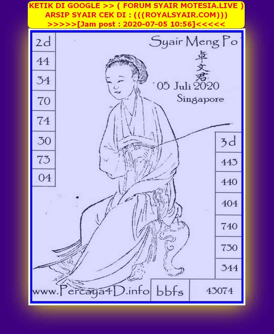 Kode syair Singapore Minggu 5 Juli 2020 137