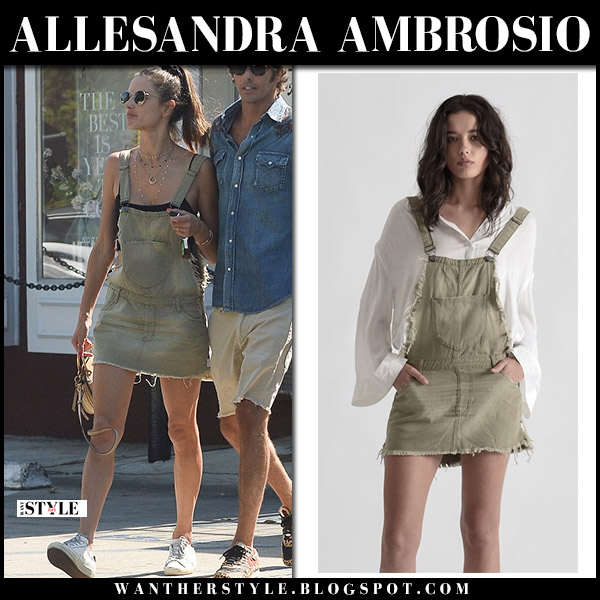 Alessandra Ambrosio in khaki denim overall style mini dress one teaspoon model street fashion august 13