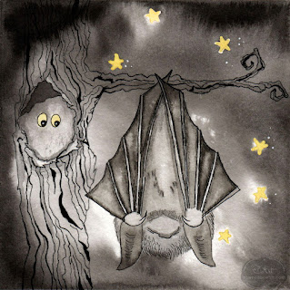 Halloween Bat Ink Drawing by Tawnya Boe
