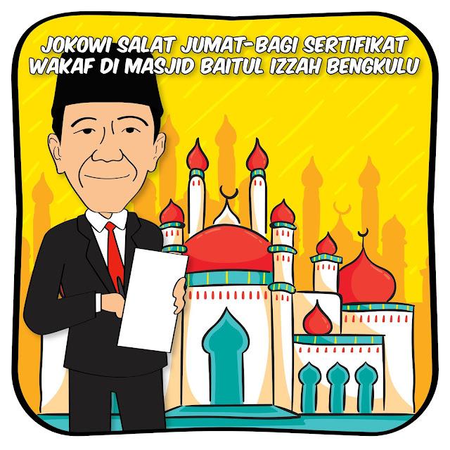 Jokowi Serahkan 25 Sertifikat Tanah Wakaf di Bengkulu