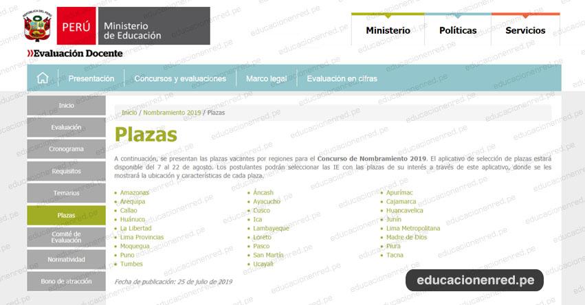 MINEDU: Relación Final de Plazas Vacantes para Nombramiento Docente 2019 (25 Julio) www.minedu.gob.pe