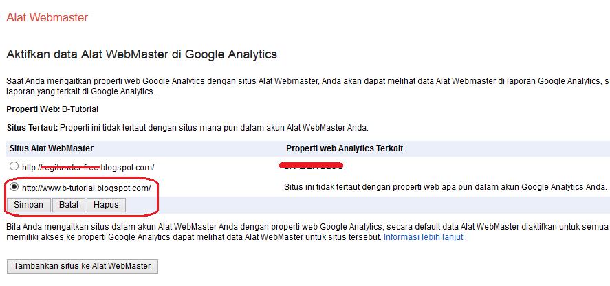 Menghubungkan Properti Google Analytics ke Google Webmaster Tools
