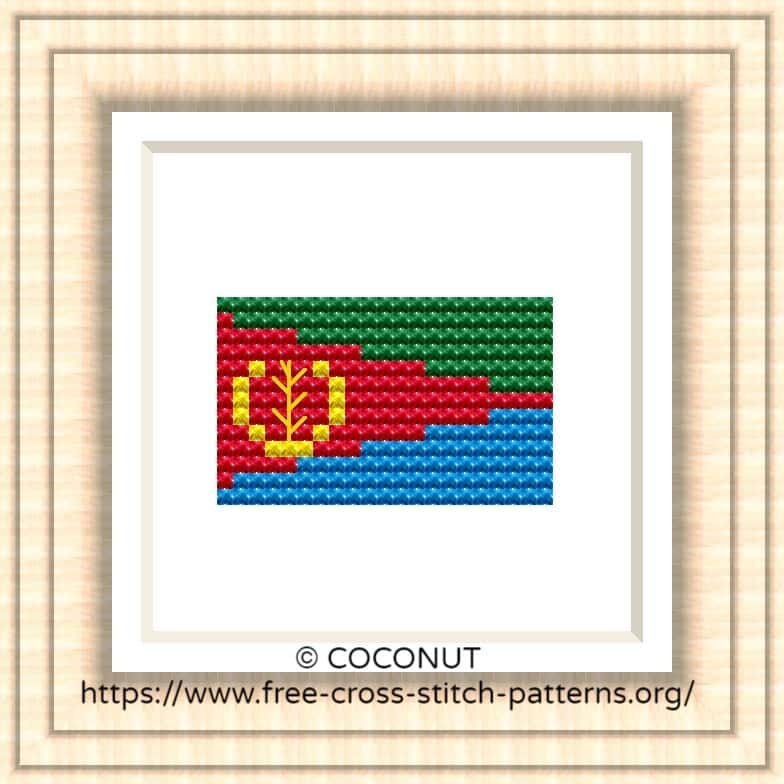 NATIONAL FLAG OF ERITREA CROSS STITCH CHART