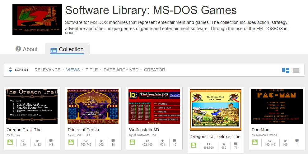 internet archive software library ms dos games