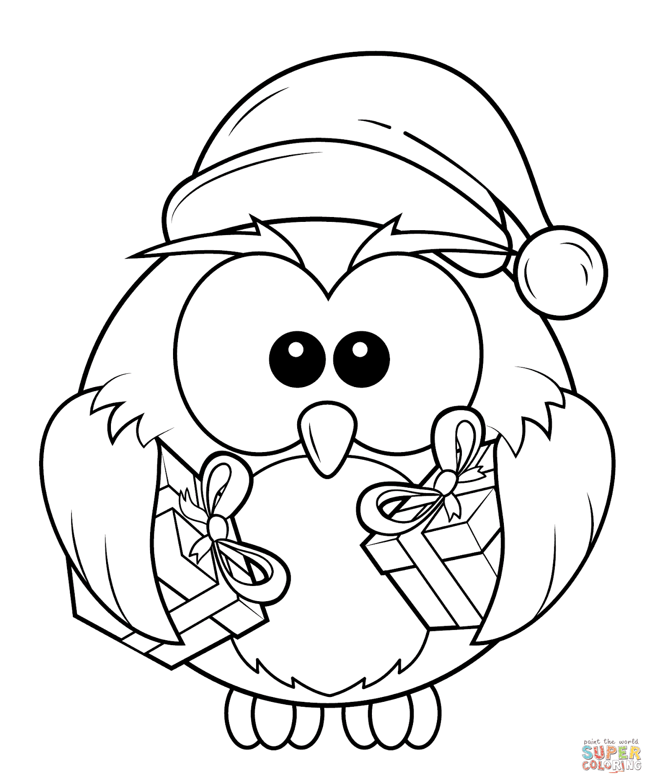 Top 10 cute christmas owl coloring page for kids for Photo to coloring page