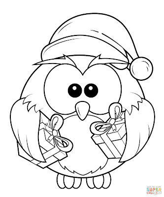Christmas owl coloring page 2