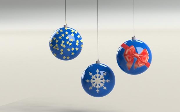 bolas de navidad azules con solidworks