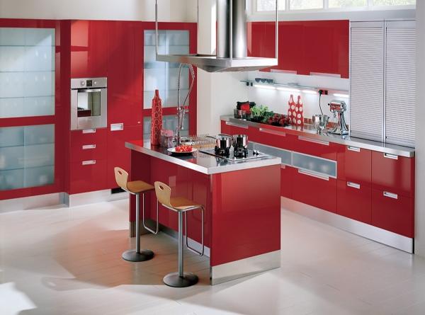 gambar dapur warna merah