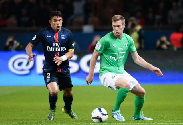 Silva et Beric lors du match PSG - Saint-Etienne