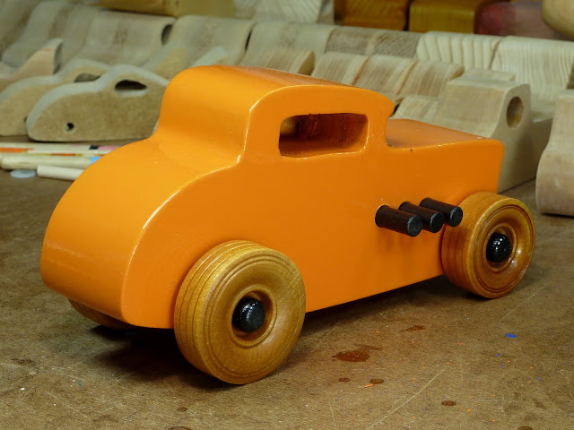 Wooden Toy Car - Hot Rod Freaky Ford - 32 Deuce Coupe - Orange & Black