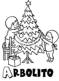 Niños Decorando árbol Navideño 4 Dibujo