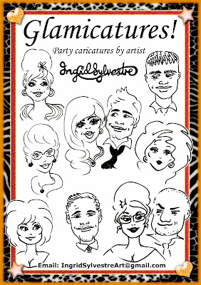 Glamicatures - Party & Wedding Caricatures by artist Ingrid Sylvestre, Durham, North East UK Wedding Entertainment Durham Newcastle Northumberland Teesside Yorkshired