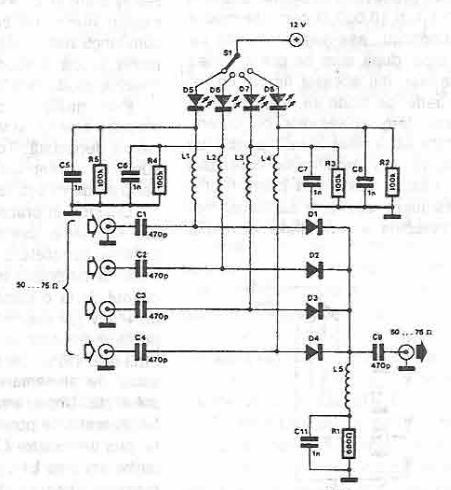 Selector Antennas using PIN Diodes Circuit Diagram
